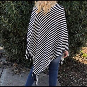 Sweaters - Cozy and stylish black and off white ponch!